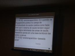 Participantes de 18 municípios da Amazônia (que compõem o curso de Saúde Coletiva) acompanhando a distância. As aulas também acontecem por meio desta tecnologia.